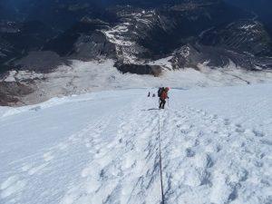 Descending Emmons Glacier