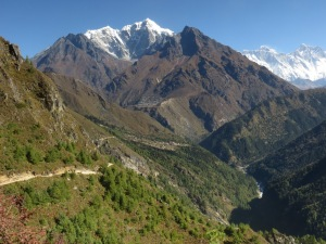 Leaving Namche on relatively flat path