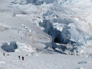 Crevasses on slopes of Mount Rainier