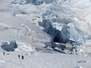 Crevasses on slopes of Mount Rainier