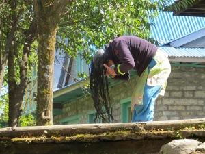 Nepale woman washing her hair