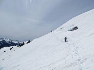 Traversing a snowy slope