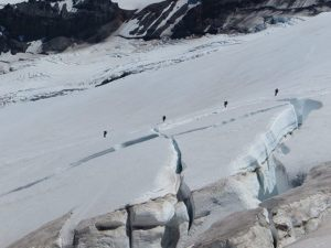 Climbers returning from Camp Shurman