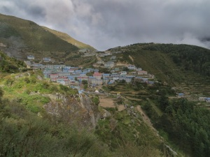 Namche Bazaar viewed from a local trail