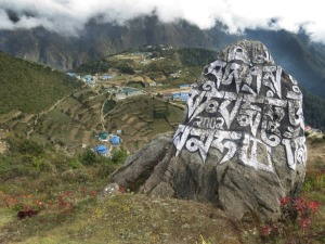 Mantra Oh mani a padme hum written on a rock overlooking Namchee Bazaar.