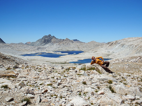 Atop Muir Pass with Evolution Basin in the background