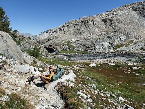 Taking a break on descent from Muir Pass
