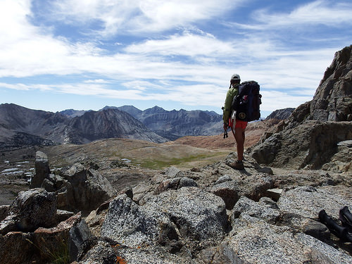 Sarah overlooking the vast barren area South of the Pass