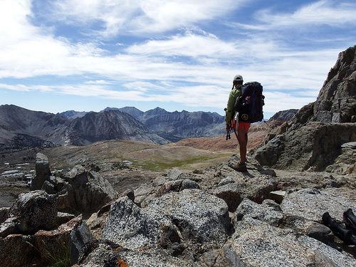 Sarah overlooking the vast barren area South of the Pass