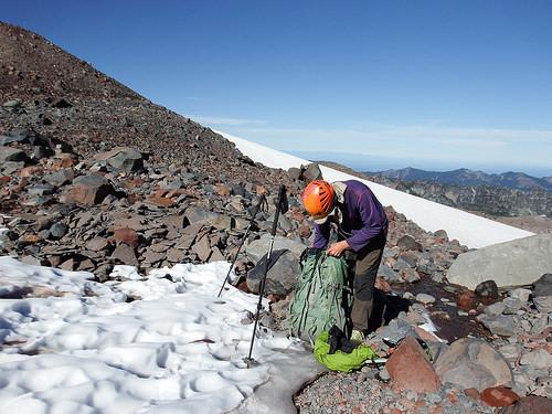 Gearing up before crossing Flett Glacier