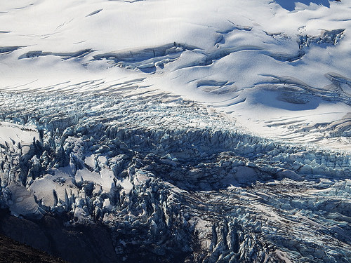 Close up view of glaciers on Mt. Rainier