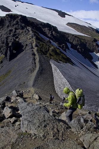 Dave descanting toward narrow ridge.
