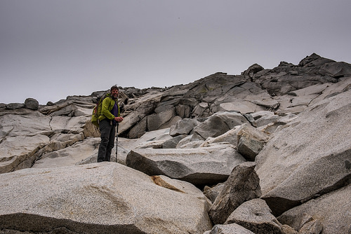 The last 500 vertical feet are gained on these large granite slabs.